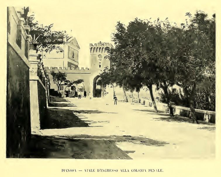 Pianosa - Viale ingresso alla colonia penale - immagine tratta dal libro di Jack La Bolina L'arcipelago toscano - 1914
